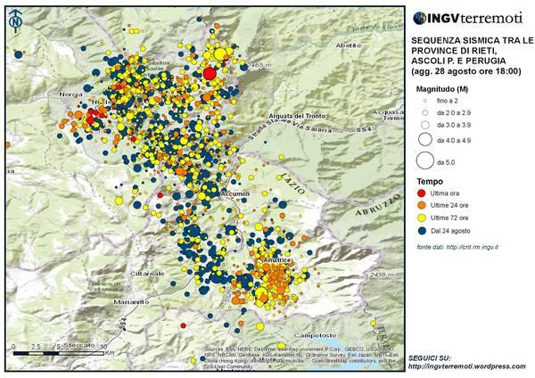 Sequenza sismica tra le province di Rieti, Ascoli e Perugia, aggiornata alle 18:00 del 28 agosto 2016 (fonte: INGV)