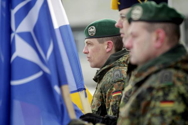 Welcoming ceremony for the first troops of the NATO enhanced Forward Presence (eFP) battalion group
