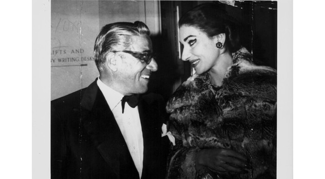ARTISTS IN LOVE - Onassis Callas Aristotle Onassis and opera singer Maria Callas, in conversation at the Royal Opera House, London, June 18th 1959. (Photo by Keystone/Hulton Archive/Getty Images)