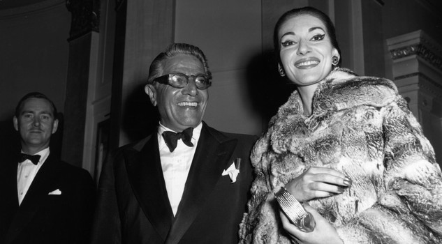 Onassis Callas 1959: Maria Meneghini Callas (1923 - 1977) operatic soprano with Aristotle Onassis (1906 - 1975) ship owner and millionaire. (Photo by Reg Davis/Express/Getty Images)