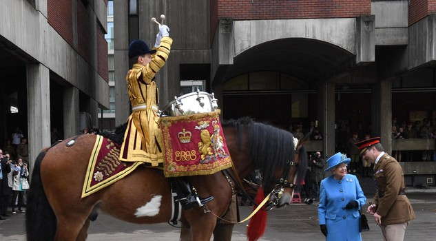 The Queen and the Prince of Wales visit the Household Cavalry Mounted Regiment in London