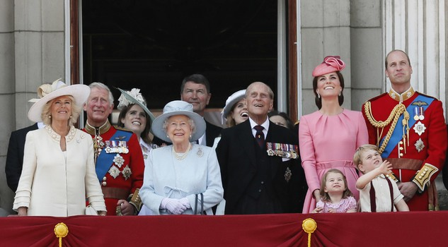 Britain's Royal family: Camilla, the Duchess of Cornwall, Prince Charles, Princess Eugenie, Queen Elizabeth II. Timothy Laurence, Princess Beatrice, Prince Philip, Kate, the Duchess of Cambridge, Princess Charlotte, Prince George and Prince William.