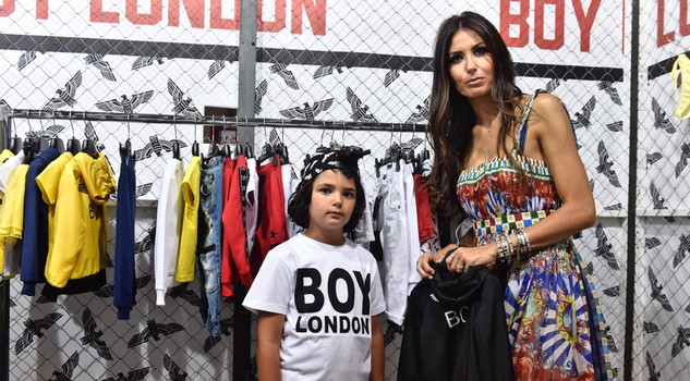 Elisabetta Gregoraci, with his son Natan Falco at the 'Boy London' stand during the 85th Pitti Bimbo children's fashion event in Florence,