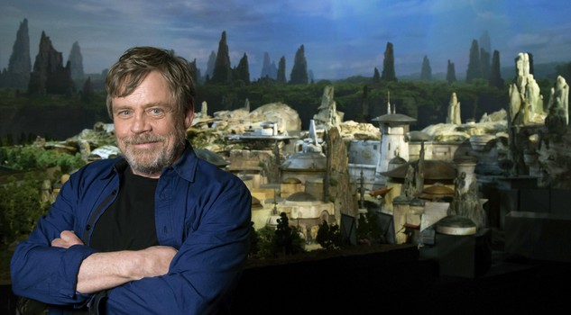 Mark Hamill, from the upcoming film 'Star Wars: The Last Jedi,' who was among the first to see a fully detailed model of Disney Parks' new Star Wars-themed land, poses while visiting D23 Expo in Anaheim, Calif.