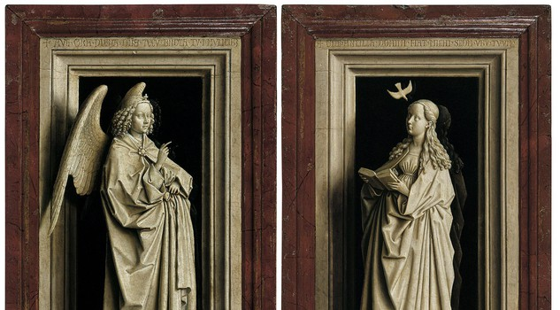 Monochrome: Painting in Black and White : The Annunciation Diptych Jan van Eyckabout 1433-5