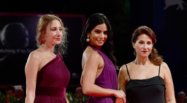 Actresses/cast members Diamand Abou Abboud (L), Rita Hayek (C) and Christine Choueiri (R) arrive for the premiere of 'The Insult' at the 74th Venice Film Festival in Venice, Italy, 31 August 2017