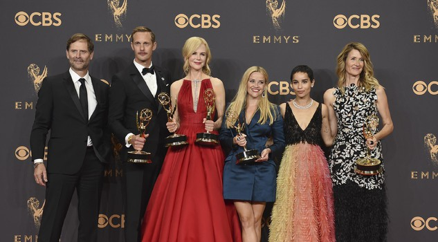 effrey Nordling, from left, Alexander Skarsgard, Nicole Kidman, Reese Witherspoon, Zoe Kravitz, and Laure Dern pose in the press room with their awards for outstanding limited series for