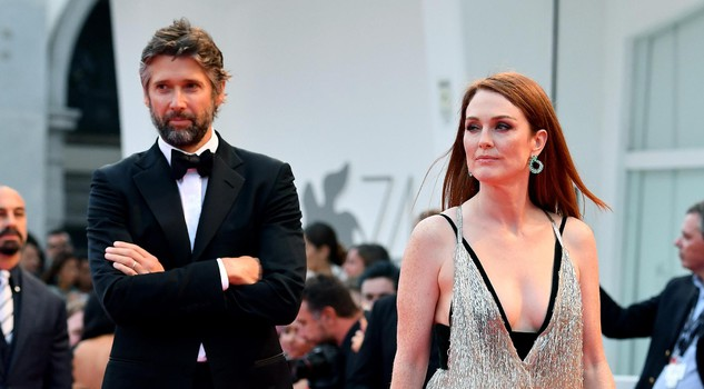 US actress Julianne Moore and her husband Bart Freundlich arrive for the premiere of 'Suburbicon' during the 74th Venice Film Festival in Venice