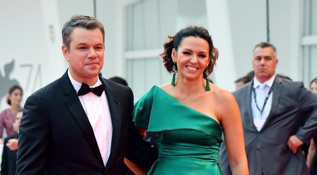 US actor Matt Damon and his wife Luciana Barroso arrive for the premiere of 'Suburbicon' during the 74th Venice Film Festival in Venice