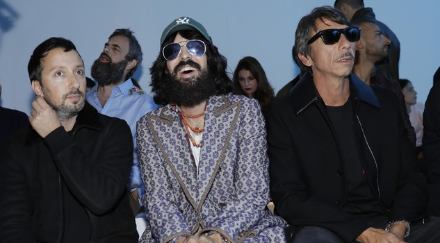 Anthony Vaccarello, Alessandro Michele and Paolo Piccioli attend the Versace women's Spring/Summer 2018 fashion collection