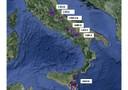 Mappa dei terremoti storici a cavallo tra la fone del '600 e l'inizio del '700 (fonte: Giulio Selvaggi, INGV)