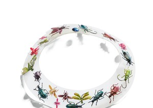 'Schiaparelli, by Jean Clment, Couture, Fall 1938. A Rhodoid necklace with embedded multicolored metal insects. sotheby