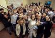 Catiuscia Marini, candidata del Pd per le elezioni regionali in Umbria festeggia dopo la vittoria  elettorale a Perugia (ANSA)