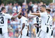 Portoguese forward of Juventus Fc Cristiano Ronaldo celebrates with teammates during a soccer friendly match against Juventus B at Villar Perosa, Turin, 12 August 2018. ANSA/ALESSANDRO DI MARCO © ANSA