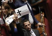 La protesta dei deputati M5S durante le votazioni dello 'Sblocca Italia' (ANSA)