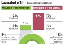 L'Infografica di Centimetri del primo novembre 2014 mostra in base ad un sondaggio cosa avevano deciso di fare con il TFR i lavoratori (ANSA)
