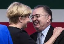 Il ministro Guidi con Giorgio Squinzi (ANSA)