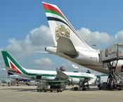 Un Airbus A330 di Alitalia e il Boeing 777 di Etihad all'aeroporto di Fiumicino il 25 luglio 2014 (ANSA)