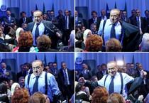 Una sequenza di foto di Silvio Berlusconi durante la conferenza regionale degli amministratori locali di  FI (ANSA)