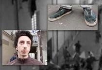 Cesar Lardon e le sue scarpe macchiate di sangue (ANSA)