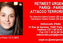 Parigi: mamma Valeria, non tra vittime, aspettiamo. Foto tratta da Twitter della ragazza italiana irrintracciabile (ANSA)