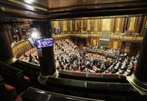 L'Aula del Senato durante la votazione sulla fiducia chiesta dal governo per la conversione in legge del decreto 'Milleproroghe' (ANSA)