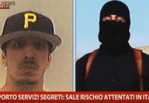 Il fermo immagine tratto dal servizio andato in onda su Sky Tg24 mostra 'Jihadi' John, identificato  come Mohamed Emwaz (ANSA)