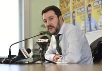 Il segretario della Lega Matteo Salvini durante la conferenza stampa al termine del consiglio federale, Milano (ANSA)