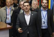 Il primo ministro greco Alexis Tsipras al termine dei lavori del mini-summit dell'Ue sulla Grecia a Bruxelles (ANSA)