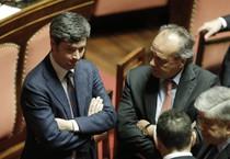 Il Ministro della Giustizia Andrea Orlando (s) e Francesco Nitto Palma durante la seduta al Senato (ANSA)