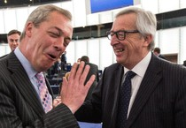 Juncker e Farage a Strasburgo (ANSA)