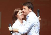 Matteo Renzi e Alessandra Moretti a Vicenza (ANSA)