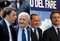 Renzi con De Luca e Berlusconi con Caldoro (ANSA)