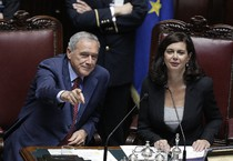 Il presidente del Senato Pietro Grasso e il presidente della Camera Laura Boldrini in una foto d'archivio (ANSA)