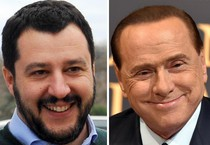 Una combo con Silvio Berlusconi (D) e Matteo Salvini (ANSA)