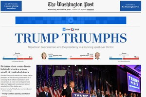 La homepage del Washington Post (ANSA)