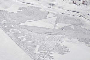 La snow art di Simon Beck a Gressoney (ANSA)
