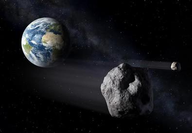 Rappresentazione artistica di asteroidi vicini alla Terra (fonte: MarcoPolo-R Mission) (ANSA)