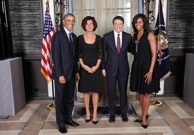 Obama con la first lady Michelle saluta Renzi e la moglie all'assemblea delle Nazioni Unite (ANSA)