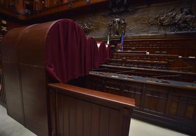 Le cabine elettorali nell'Aula di Montecitorio per le votazioni del nuovo presidente della Repubblica, Roma, 28 gennaio 2015. ANSA/ETTORE FERRARI (ANSA)