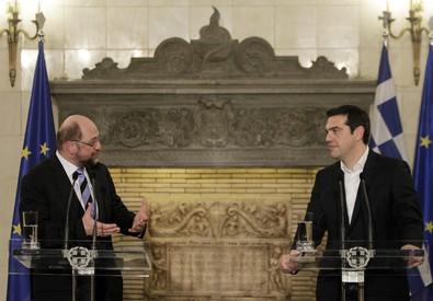 Alexis Tsipras (d) e Martin Schulz (ANSA)