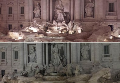 Fontana di Trevi accesa spenta (ANSA)