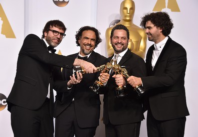 Nicolas Giacobone, and from left, Alejandro Gonzalez Inarritu, Alexander Dinelaris and Armando Bo (ANSA)