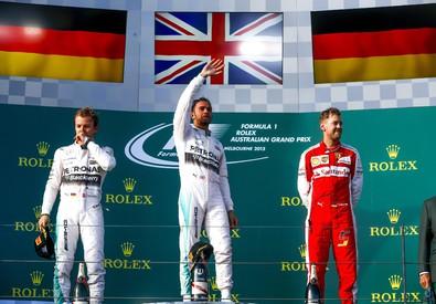 Nico Rosberg, Lewis Hamilton e Sebastian Vettel (ANSA)