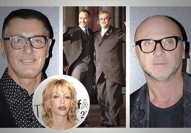 Dolce & Gabbana in una combo con Courtney Love, Elton John e il suo compagno David Furnish (ANSA)