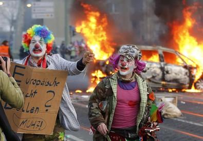 La protesta di Blockupy a Francoforte (ANSA)