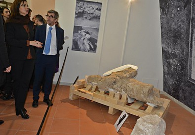 Boldrini inaugura nuova ala museo Giganti Mont'e Prama a Cabras (ANSA)