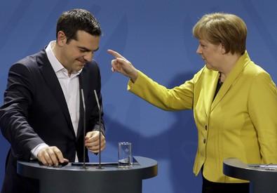 Tsipras e Merkel ieri a Berlino (ANSA)