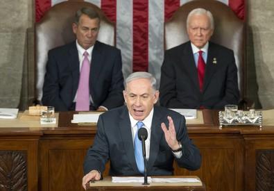 Il premier d'Israele Benyamin Netanyahu parla al Congresso Usa (ANSA)