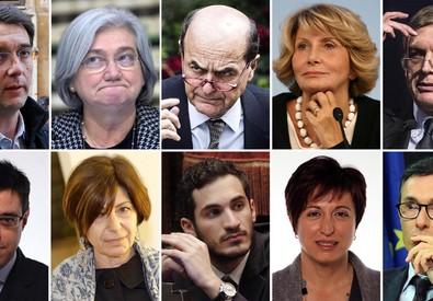 In alto da SX:  'Attorre, Bindi, Bersani, Pollastrini, Cuperlo. In basso da SX: Meloni, Agostini, Lattuca, Fabbri, Giorgis. Si tratta dei dieci deputati della minoranza Pd in Commissione Affari costituzionali che potrebbero essere sostituiti. (ANSA)